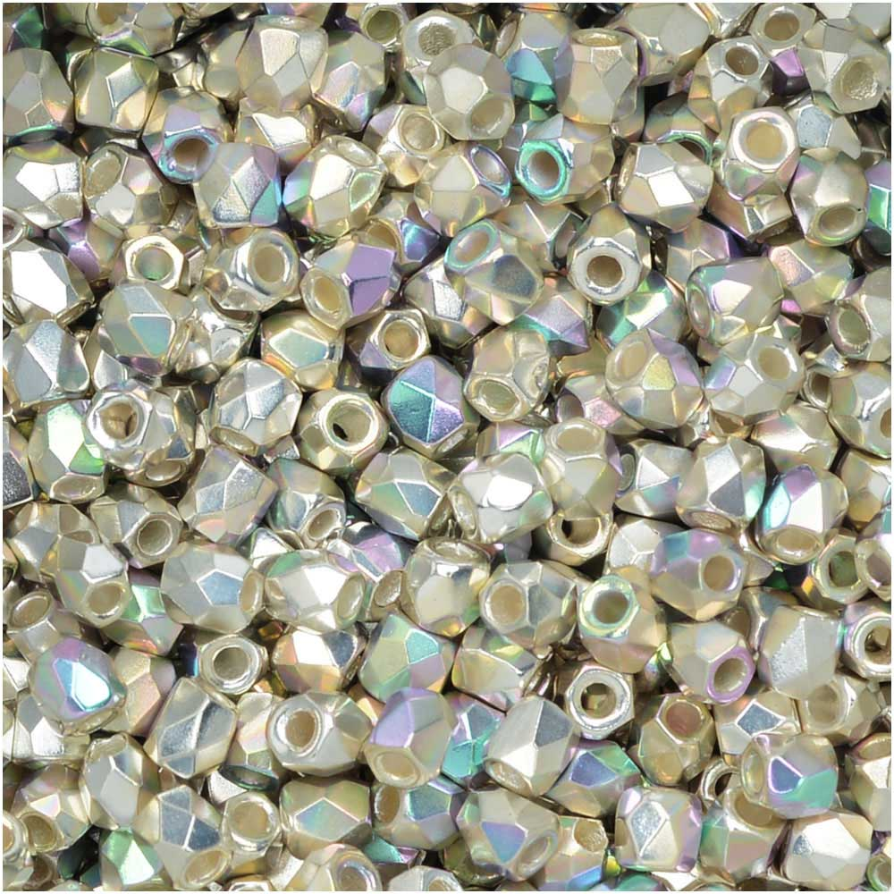 True2 Czech Fire Polished Glass, Faceted Round Beads 2mm, 50 Pieces, Fine Silver Plated AB