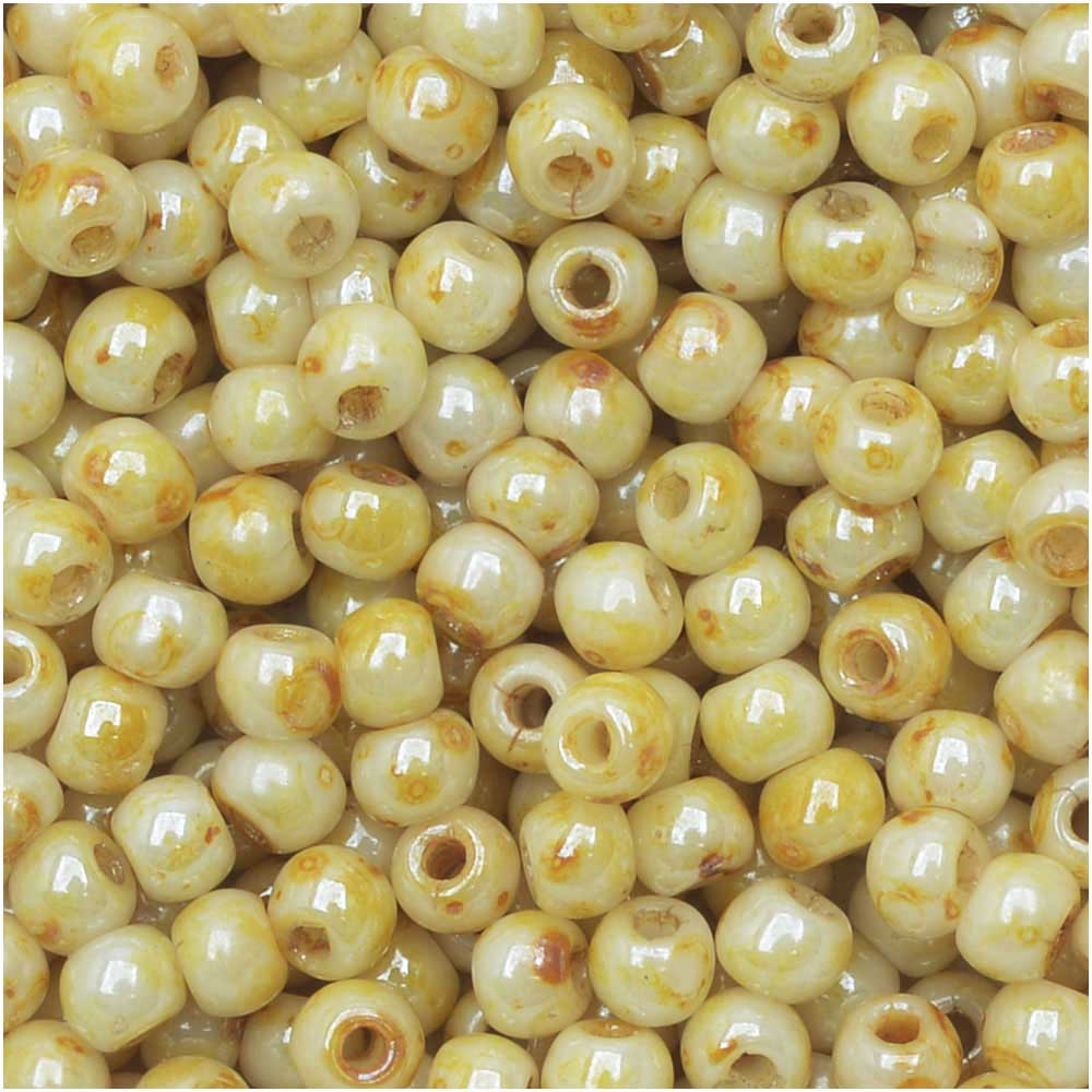 True2 Czech Glass, Round Druk Beads 2mm, 200 Pieces, Honey Drizzle