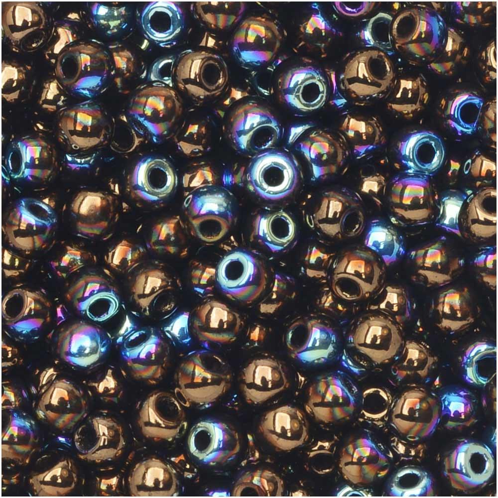 True2 Czech Glass, Round Druk Beads 2mm, 200 Pieces, Jet Bronze AB