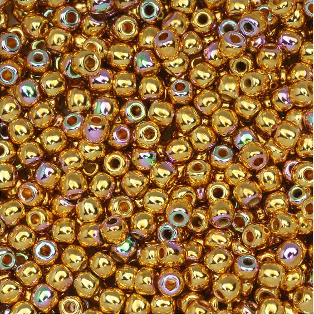 True2 Czech Glass, Round Druk Beads 2mm, 190-200 Pieces, 24K Gold Plated AB