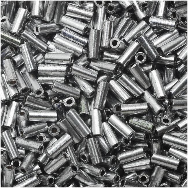 Czech Glass Bugle Beads, Cylinder Size 2 '4.5mm', 24 Gram Tube, Matte Silver