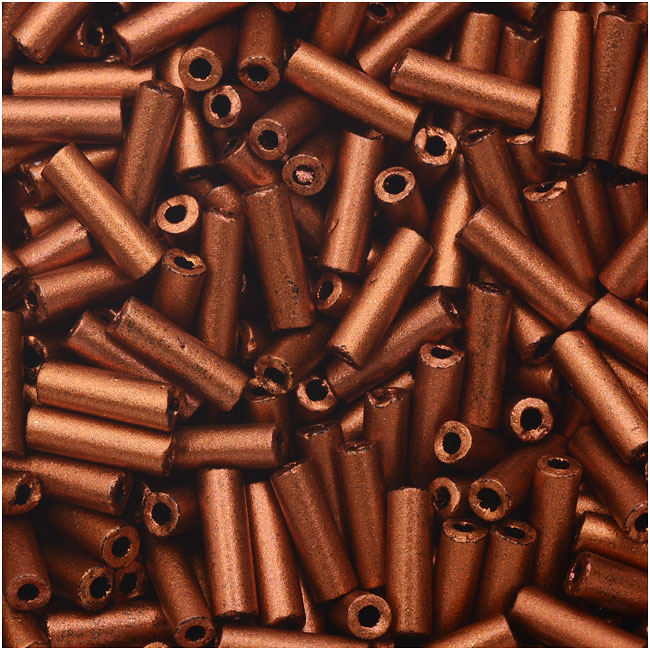 Czech Glass Bugle Beads, Cylinder Size 3 '7mm', 24 Gram Tube, Matte Copper