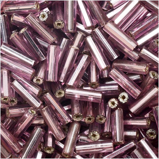 Czech Glass Bugle Beads, Cylinder Size 3 '7mm', 24 Gram Tube, Lt Amethyst S/L