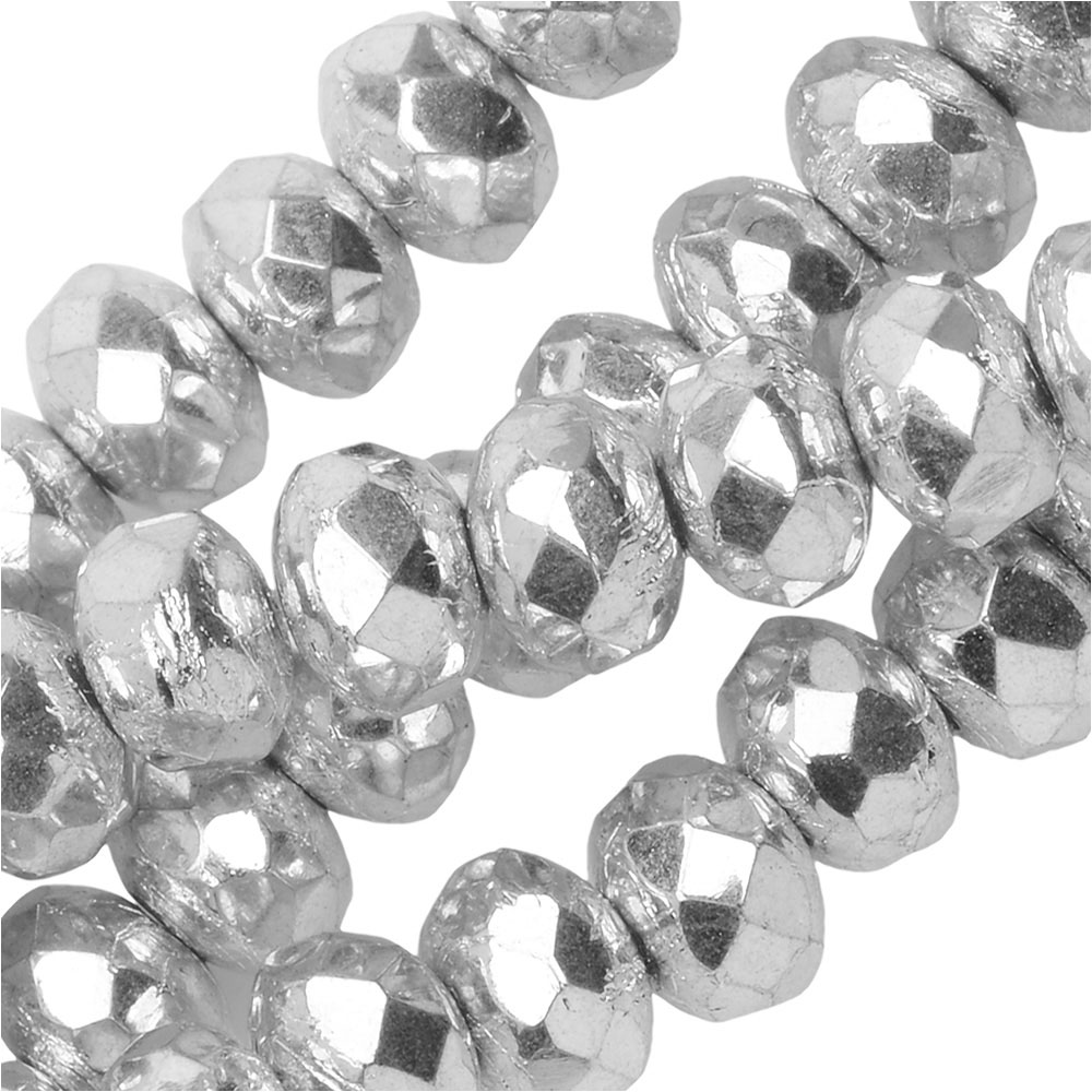 Czech Fire Polished Glass, Donut Rondelle Beads 5x3.5mm, 50 Pieces, Crystal Labrador