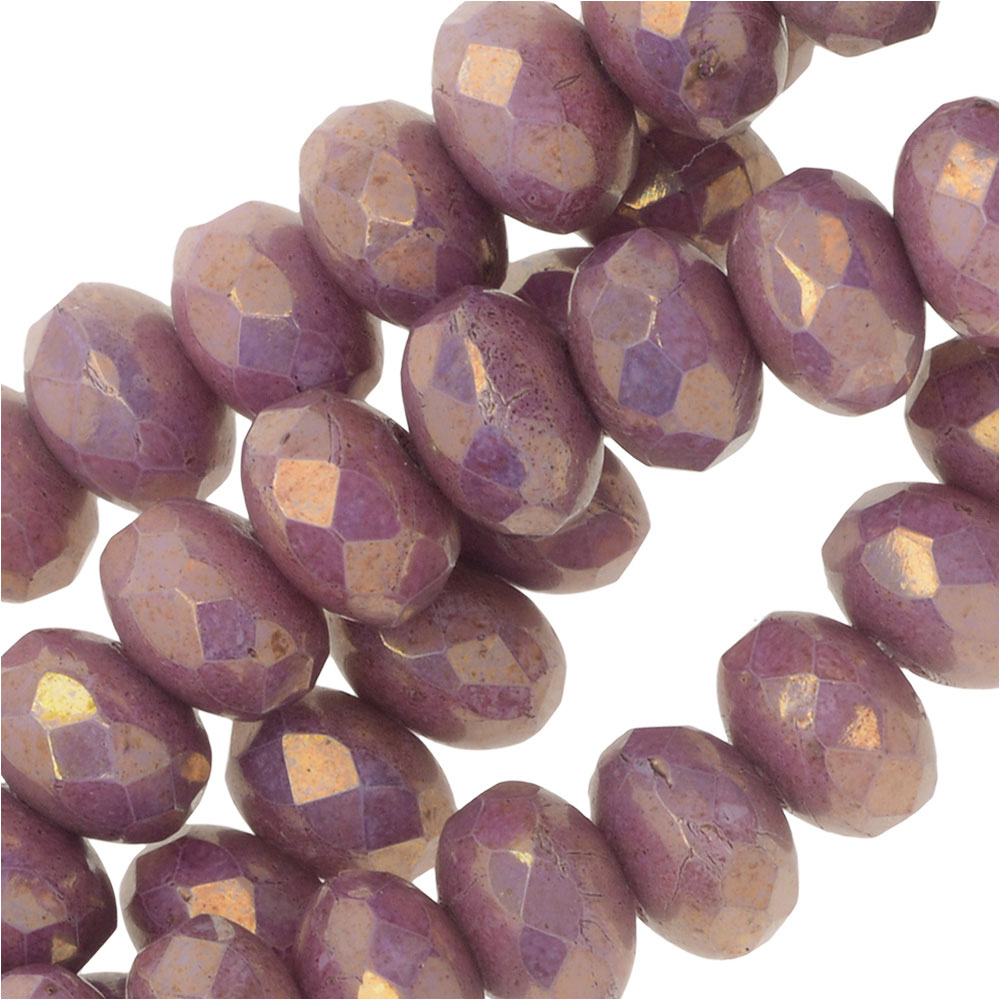 Czech Fire Polished Glass, Donut Rondelle Beads 5x3.5mm, 50 Pieces, Violet Luster