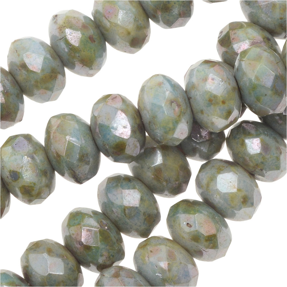 Czech Fire Polished Glass, Donut Rondelle Beads 5x3.5mm, 50 Pieces, Lazure Blue