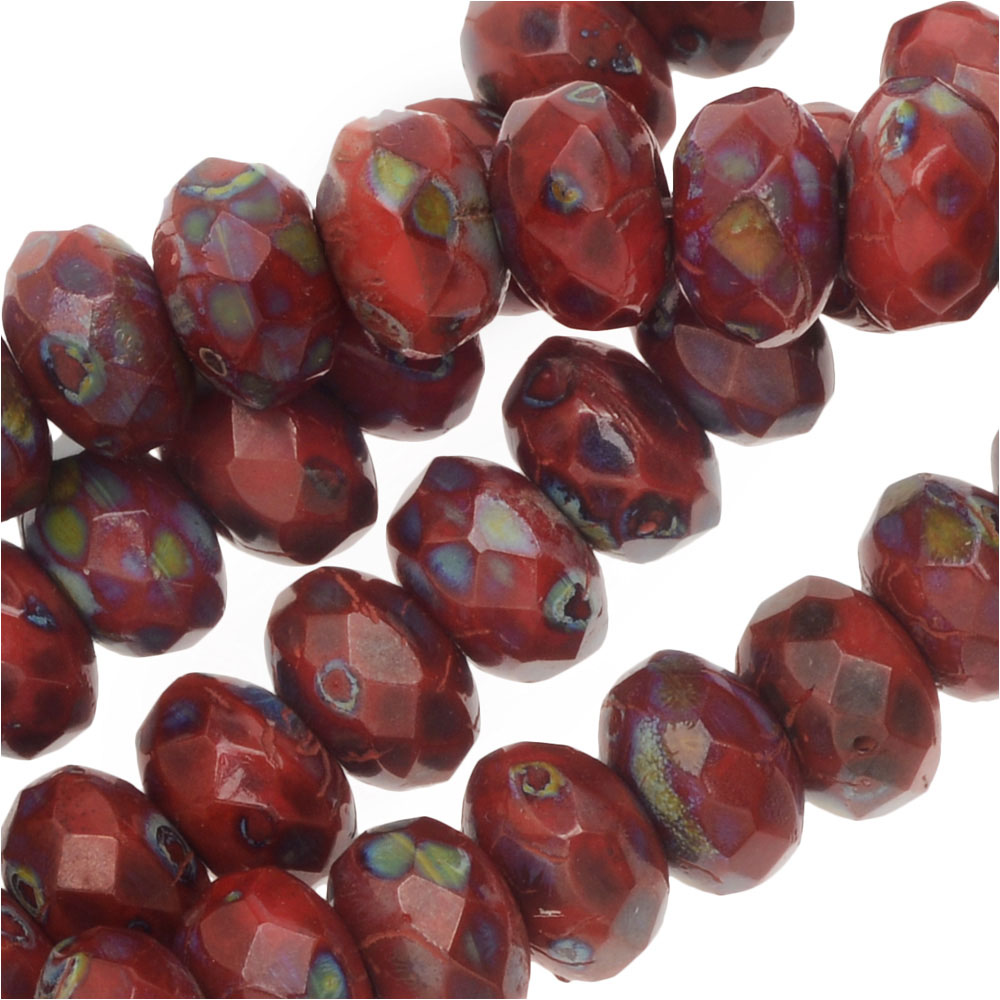 Czech Fire Polished Glass, Donut Rondelle Beads 5x3.5mm, 50 Pieces, Dark Red Travertine