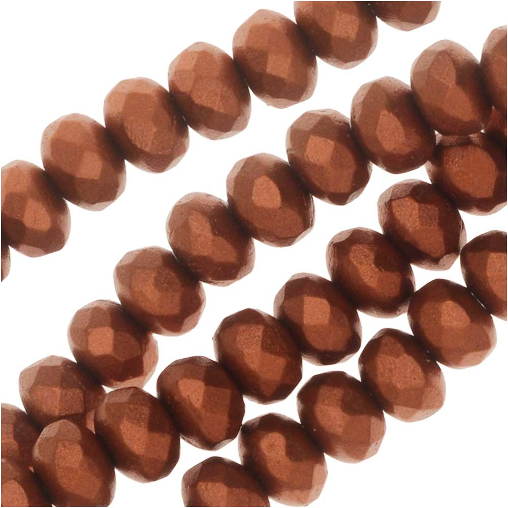 Czech Fire Polished Glass, Donut Rondelle Beads 5x3.5mm, 50 Pieces, Bronze Copper