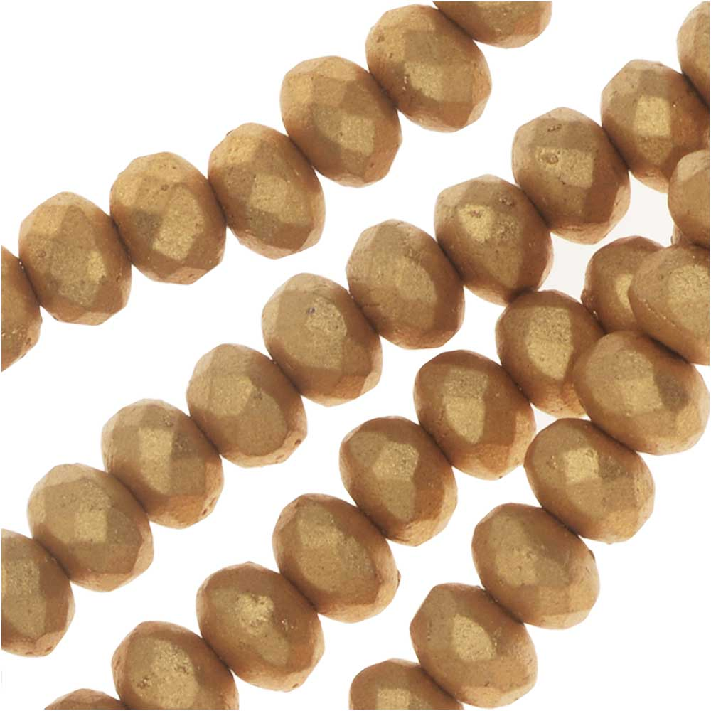 Czech Fire Polished Glass, Donut Rondelle Beads 5x3.5mm, 50 Pieces, Bronze Pale Gold
