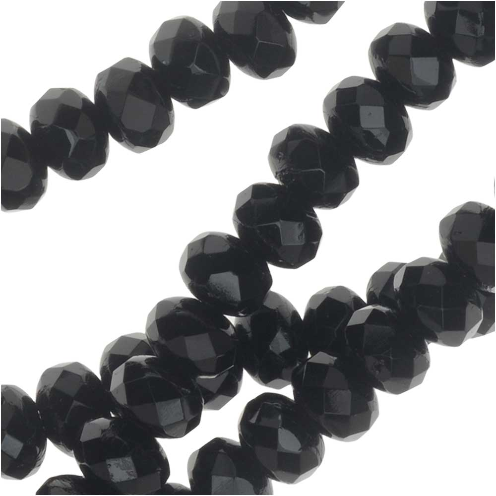 Czech Fire Polished Glass, Donut Rondelle Beads 5x3.5mm, 50 Pieces, Jet Black