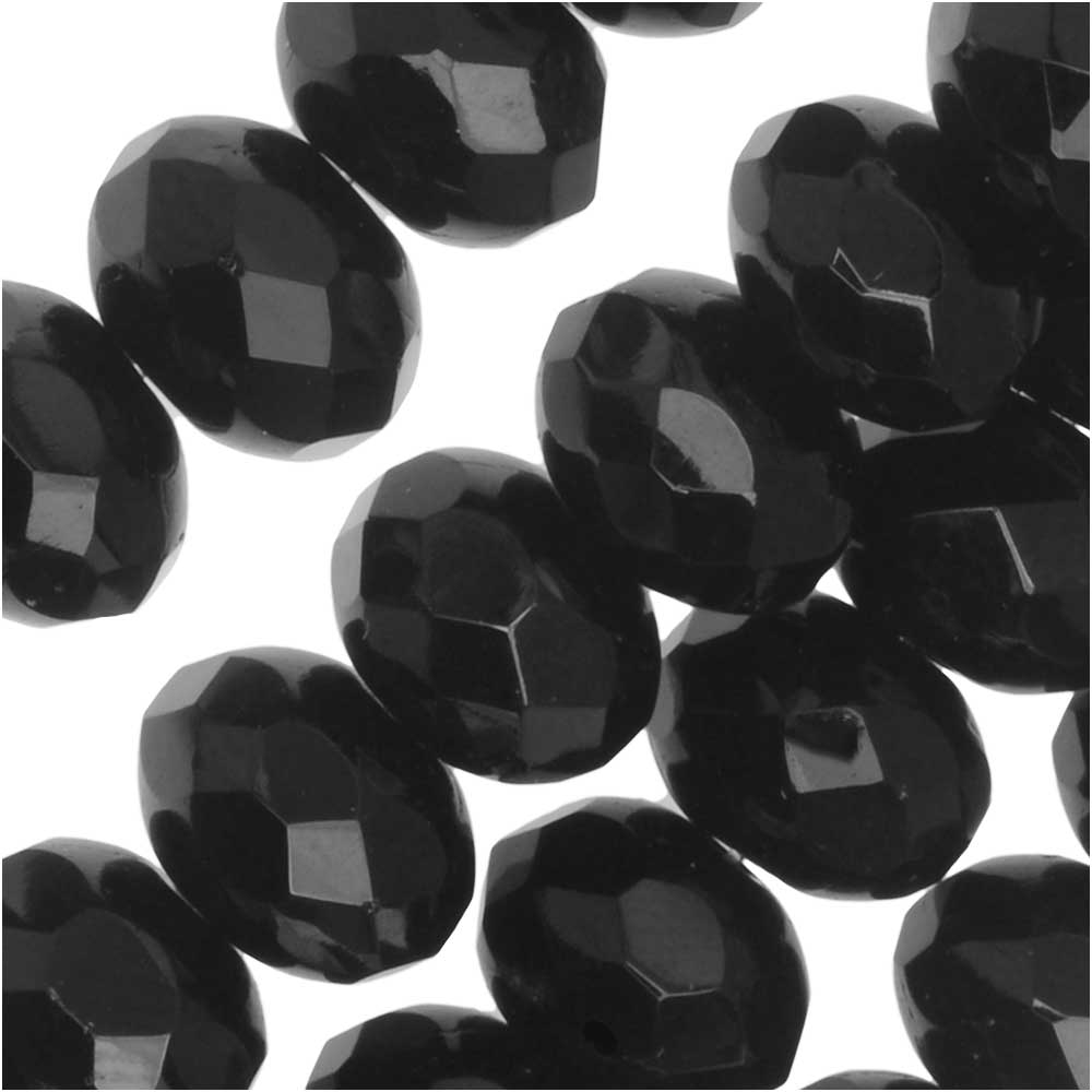 Czech Fire Polished Glass, Donut Rondelle Beads 8.5x6mm, 25 Pieces, Jet Black