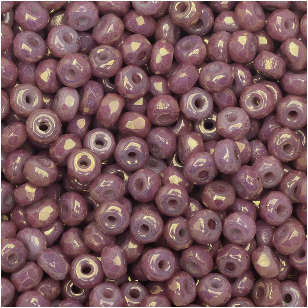 True2 Czech Fire Polished Glass, Faceted Micro Spacer Beads 2x3mm, 100 Pieces, Chalk Violet Luster