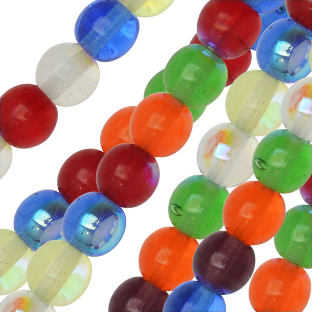Czech Glass Druk Beads, Round 6mm, 50 Pieces, Rainbow AB Mix