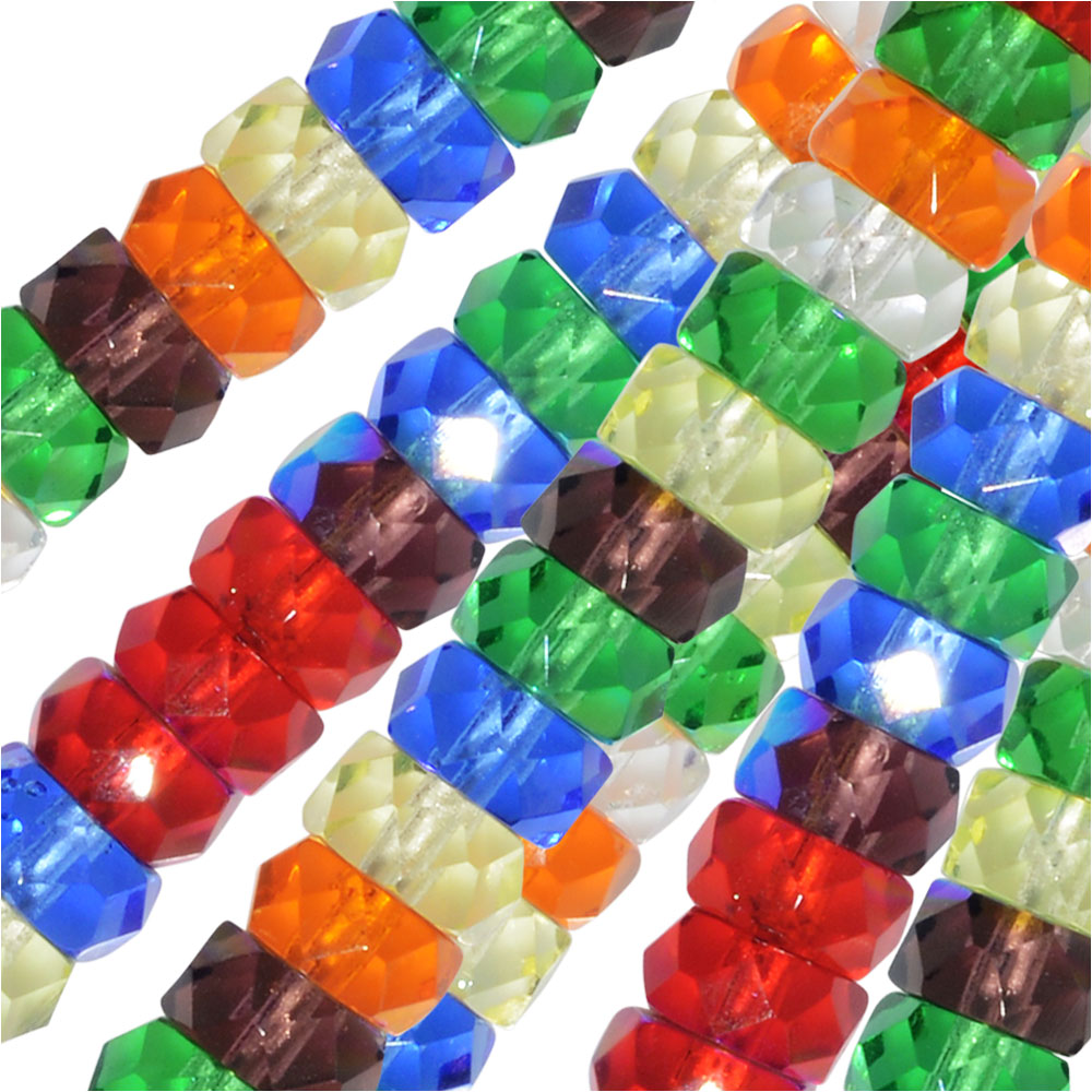 Czech Glass Beads, Faceted Rondelle 3x6mm, 60 Pieces, Rainbow AB Mix