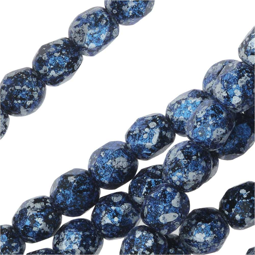 Czech Fire Polished Glass, Faceted Round Beads 4mm, 40 Pieces, Tweedy Blue