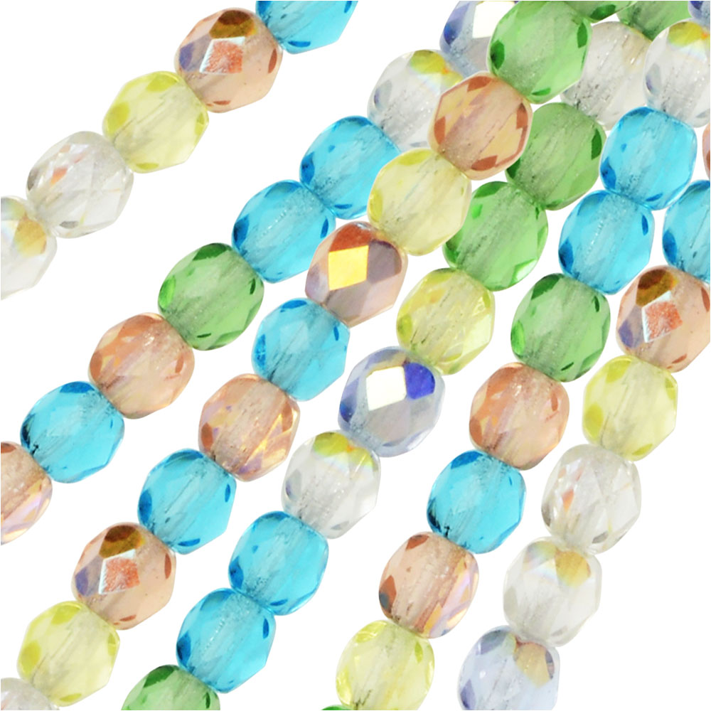 Czech Fire Polished Glass Beads, Faceted Round 4mm, 100 Pieces, Spring Flowers Mix