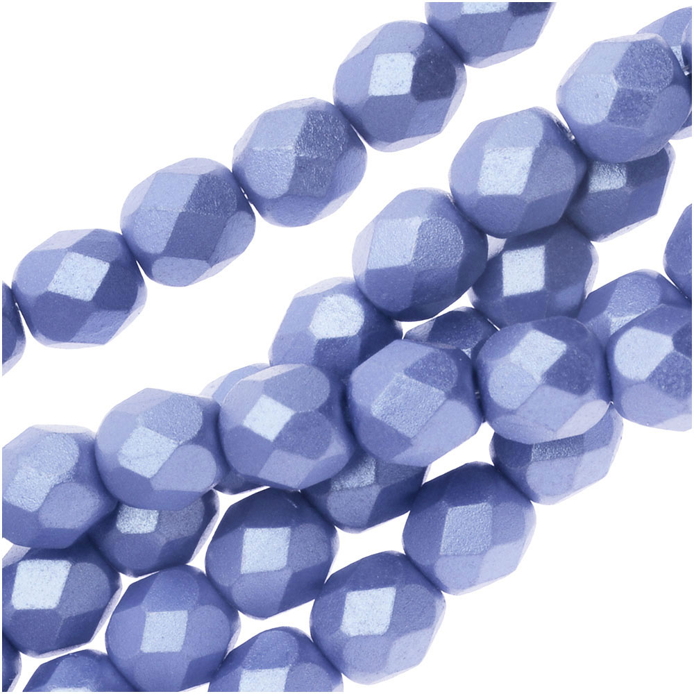 Czech Fire Polished Glass, Faceted Round Beads 6mm, 25 Pieces, Pastel Light Sapphire