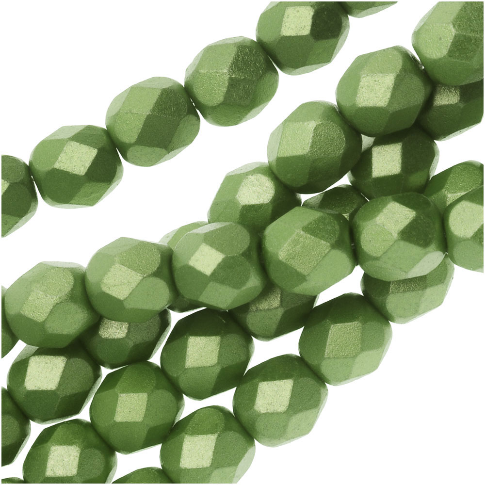 Czech Fire Polished Glass, Faceted Round Beads 6mm, 25 Pieces, Pastel Olivine