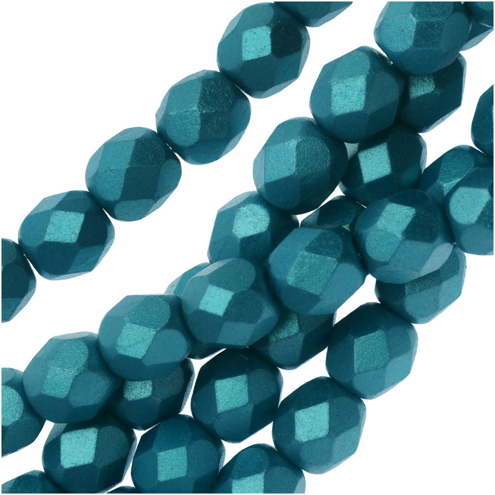 Czech Fire Polished Glass, Faceted Round Beads 6mm, 25 Pieces, Pastel Emerald
