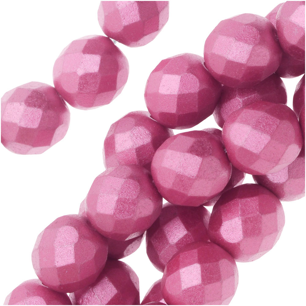 Czech Fire Polished Glass, Faceted Round Beads 8mm, 19 Pieces, Pastel Pink