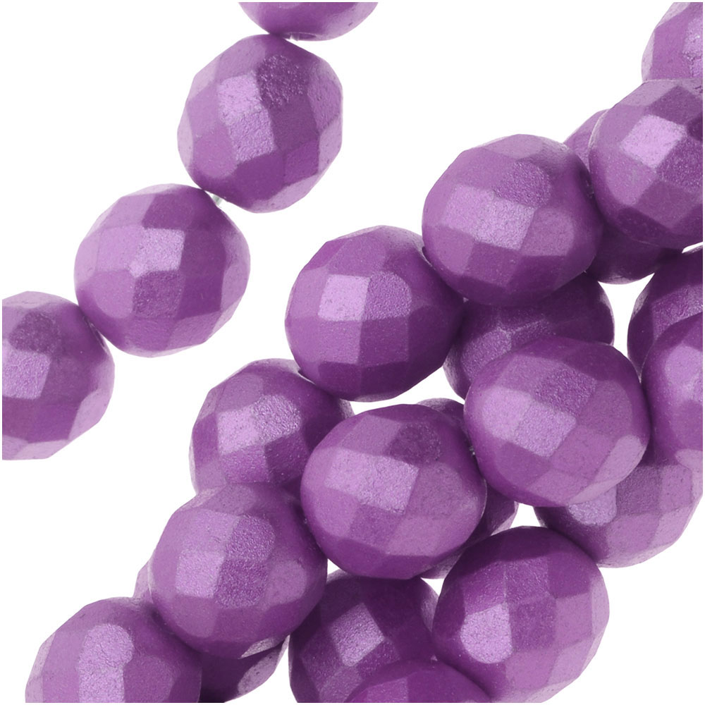 Czech Fire Polished Glass, Faceted Round Beads 8mm, 19 Pieces, Pastel Lilac
