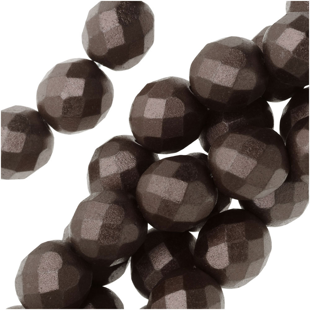 Czech Fire Polished Glass, Faceted Round Beads 8mm, 19 Pieces, Pastel Bronze