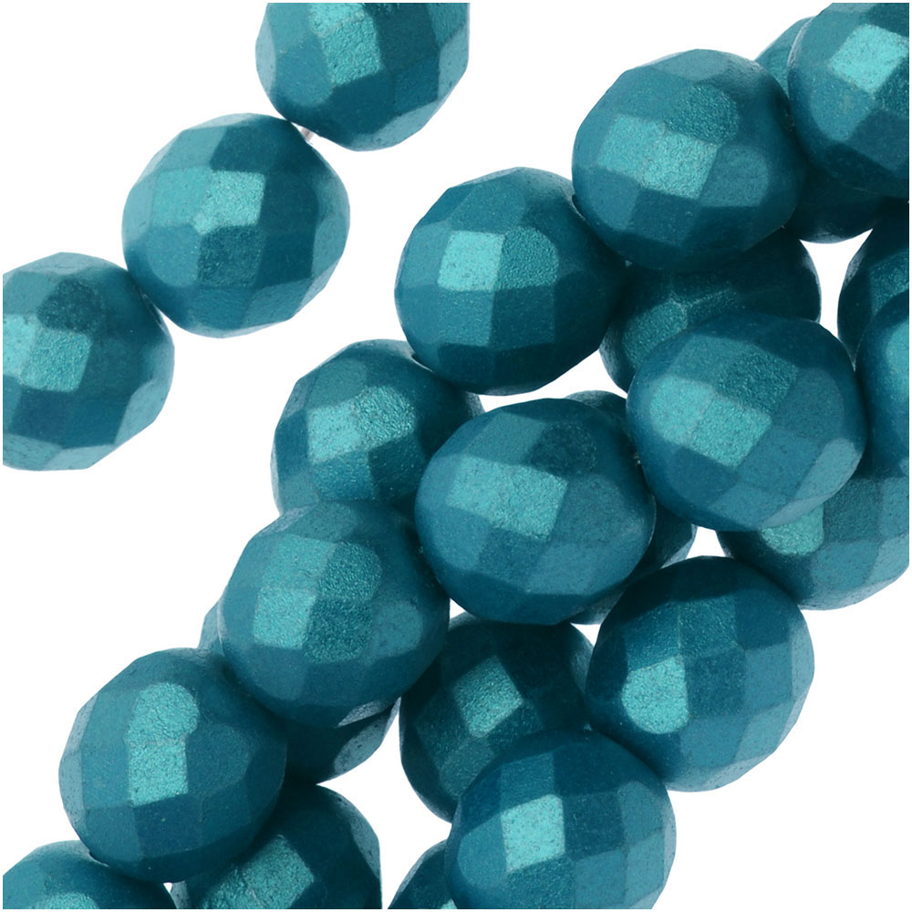 Czech Fire Polished Glass, Faceted Round Beads 8mm, 19 Pieces, Pastel Emerald