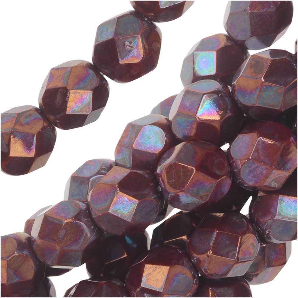 Czech Fire Polished Glass, Faceted Round Beads 6mm, 25 Pieces, Red Nebula