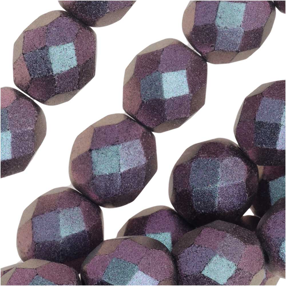 Czech Fire Polished Glass, Faceted Round Beads 8mm, 20 Pieces, Polychrome Deep Purple