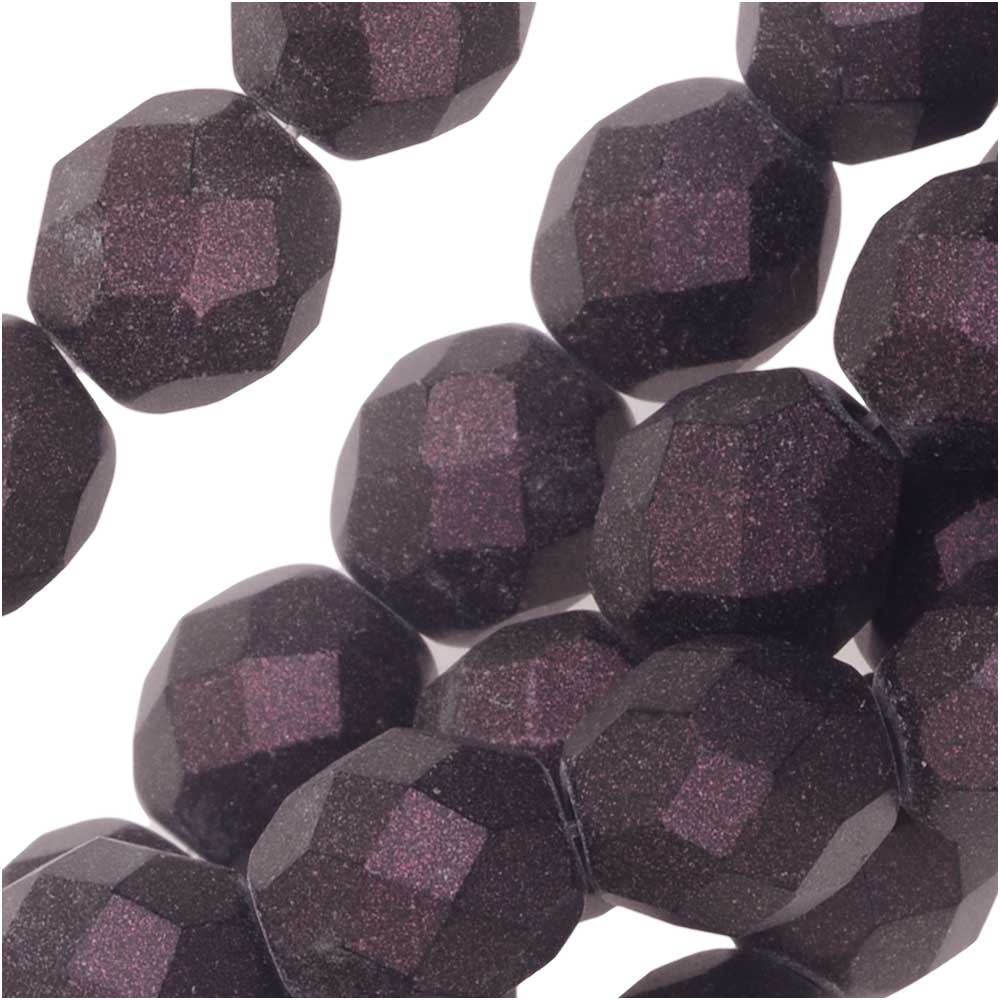 Czech Fire Polished Glass, Faceted Round Beads 8mm, 20 Pieces, Polychrome Purple Bronze