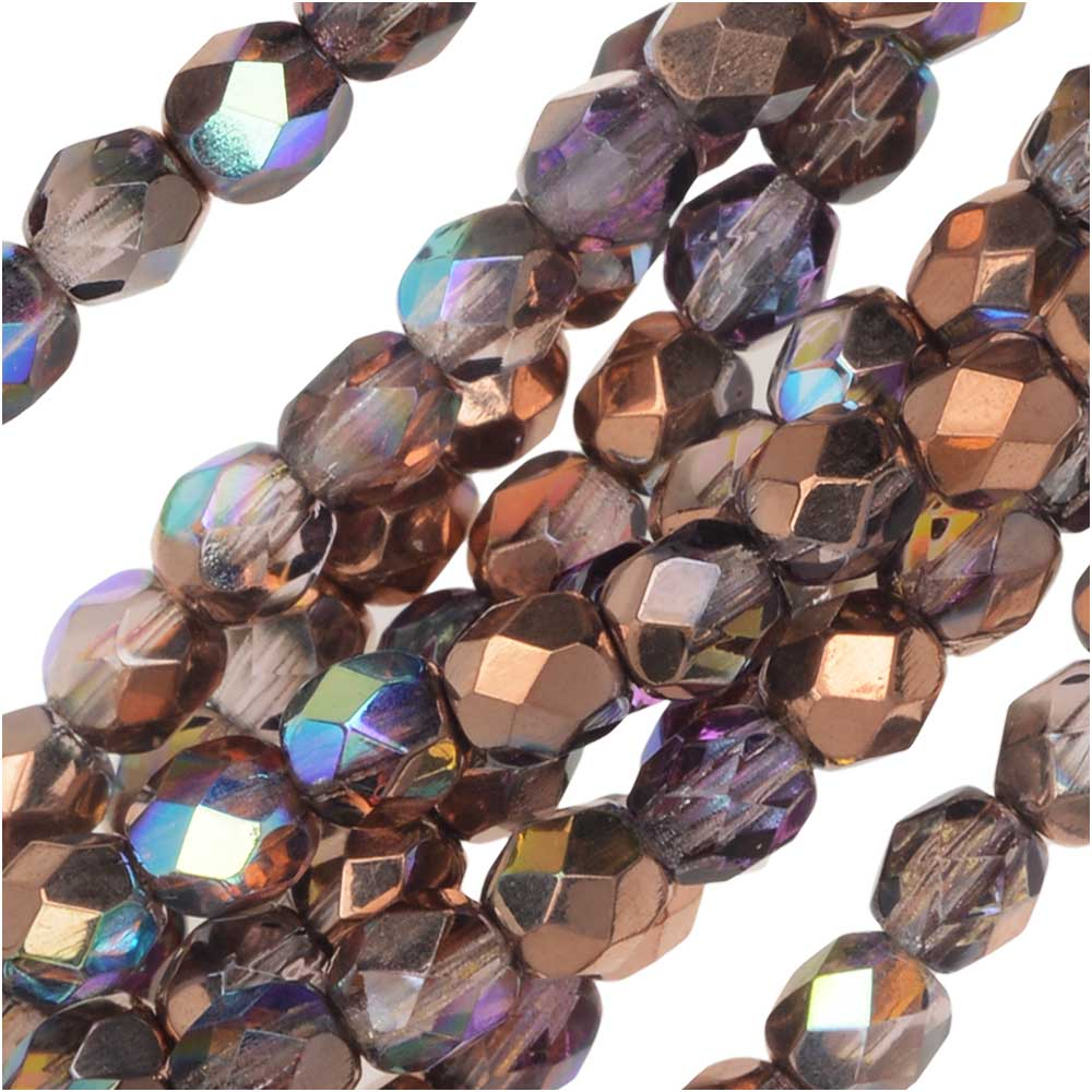 Czech Fire Polished Glass, Faceted Round Beads 4mm, 40 Pieces, Light Amethyst Copper Rainbow
