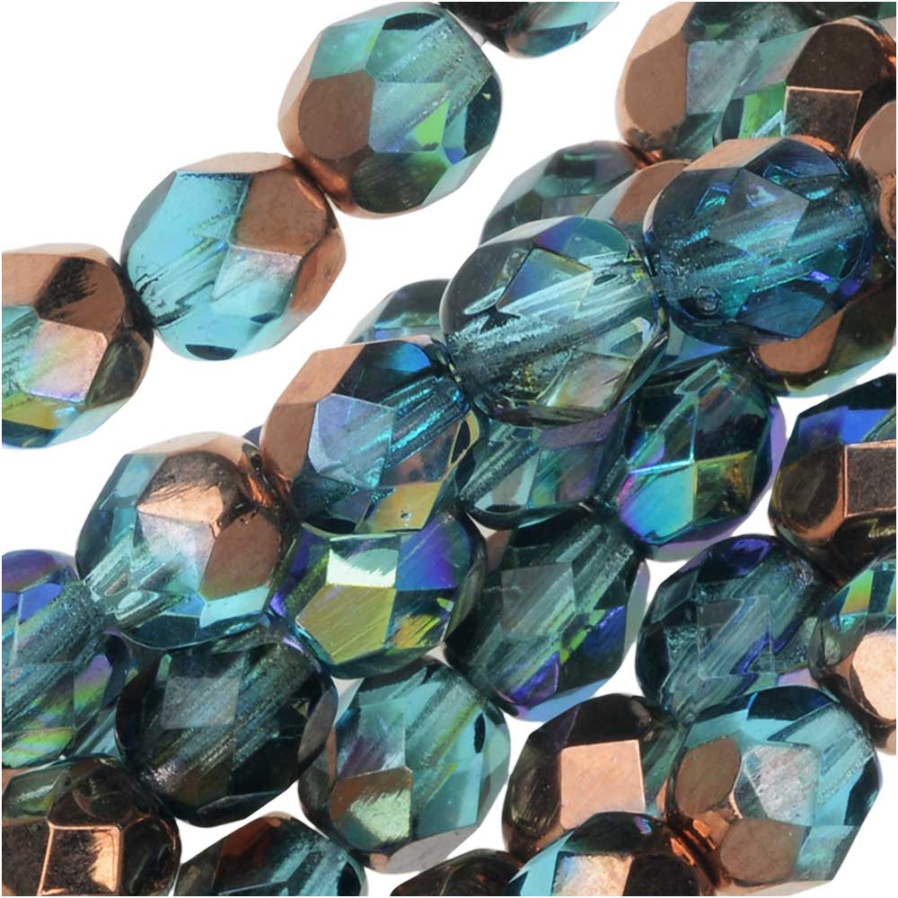 Czech Fire Polished Glass, Faceted Round Beads 6mm, 25 Pieces, Aqua Copper Rainbow