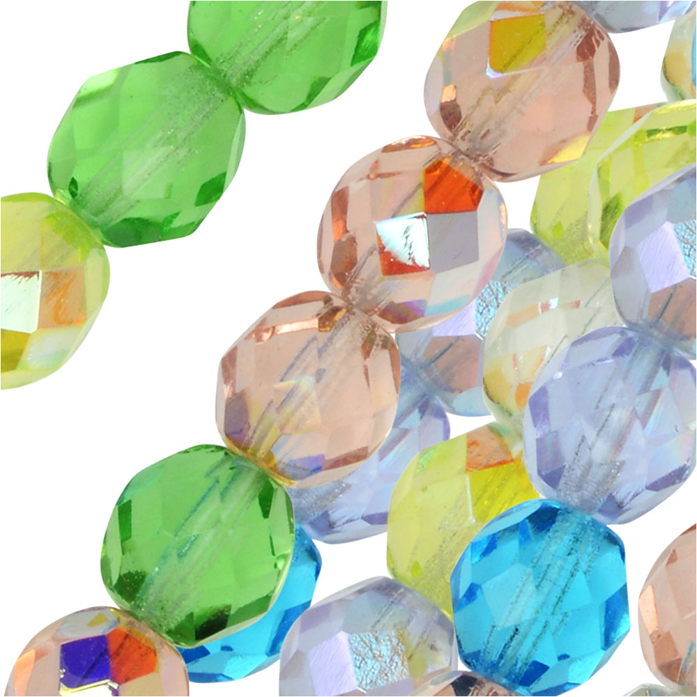 Czech Fire Polished Glass Beads, Faceted Round 8mm, 50 Pieces, Spring Flowers Mix