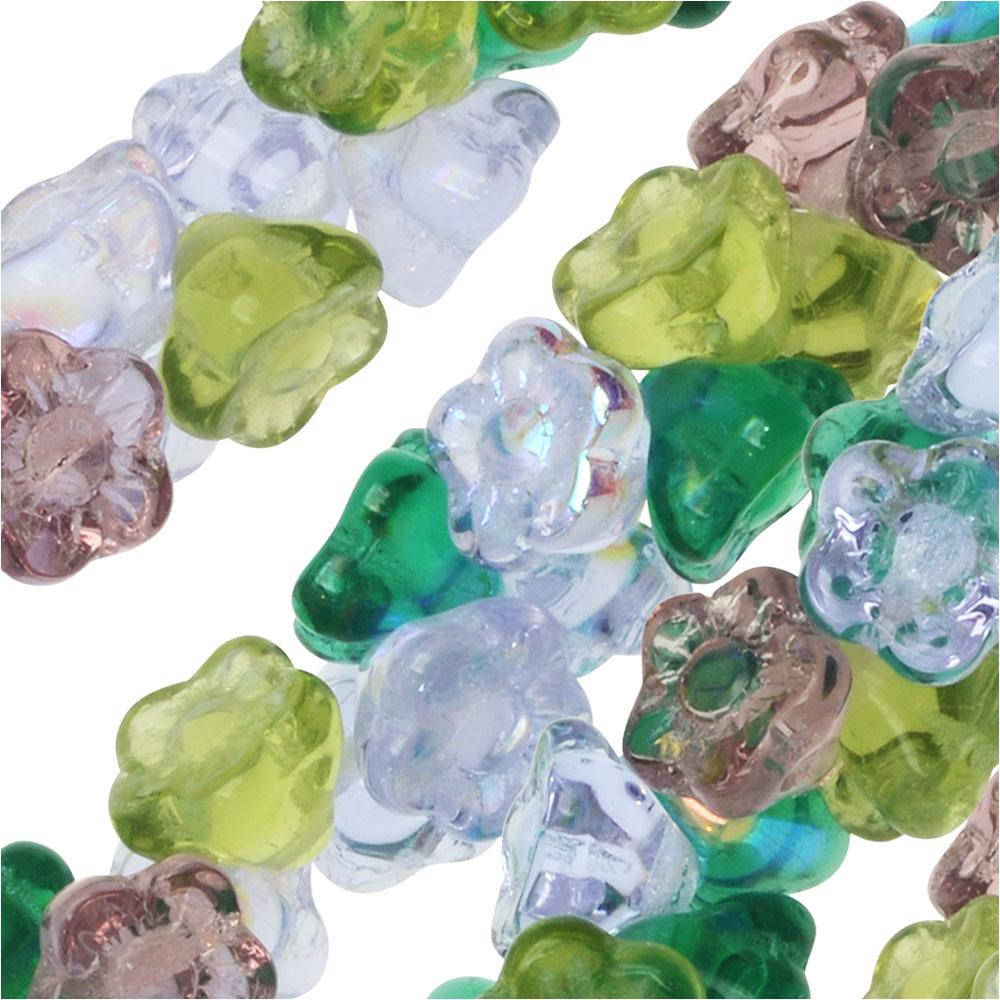 Czech Glass Beads, Flower 7mm, 100 Pieces, Lavender Garden Mix