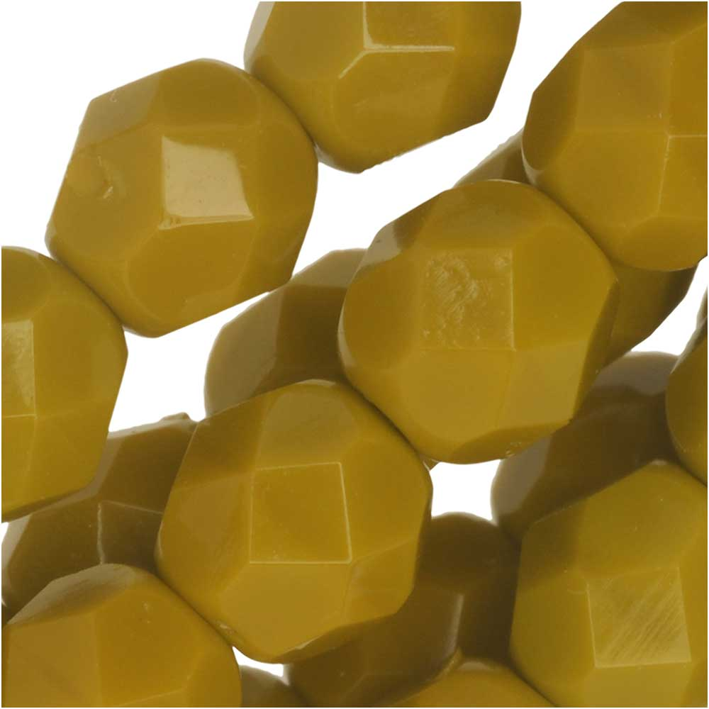 Czech Fire Polished Glass Beads 6mm Round Golden Mustard (25)