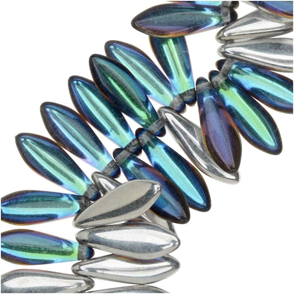 Czech Glass, Dagger Beads 5x16mm, 25 Pieces, Backlit Petrol