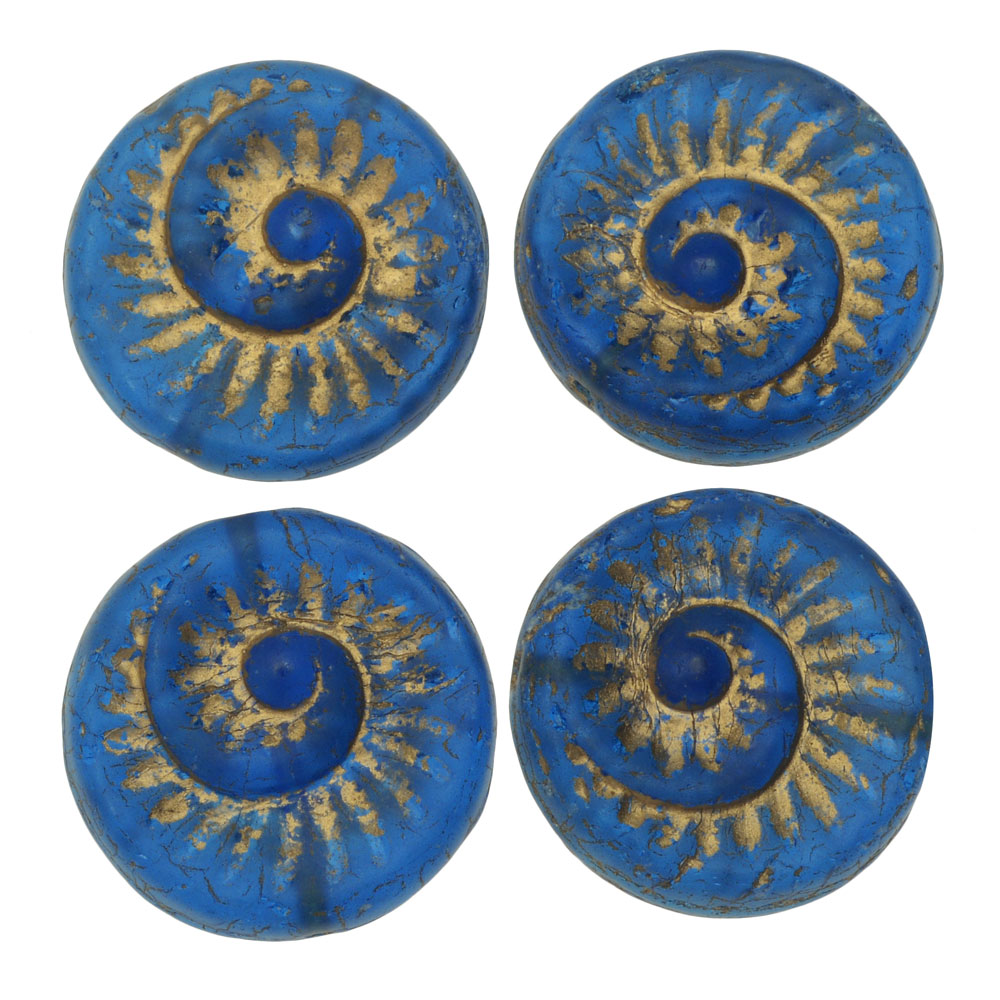 Czech Glass Beads, Coin Fossil 19mm, 4 Pieces, Capri Blue Transparent Matte with Gold Wash, by Raven's Journey