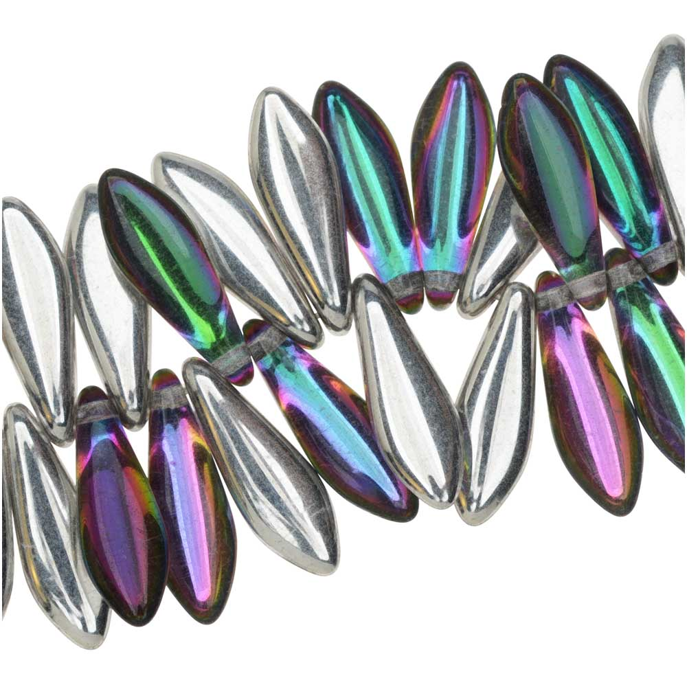 Czech Glass, Dagger Beads 5x16mm, 25 Pieces, Backlit Spectrum