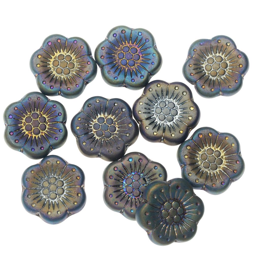 Czech Glass Beads, Wild Rose Flower 18mm, 1 Strand, Blue/Purple Peacock Luster Matte Opaque, by Raven's Journey