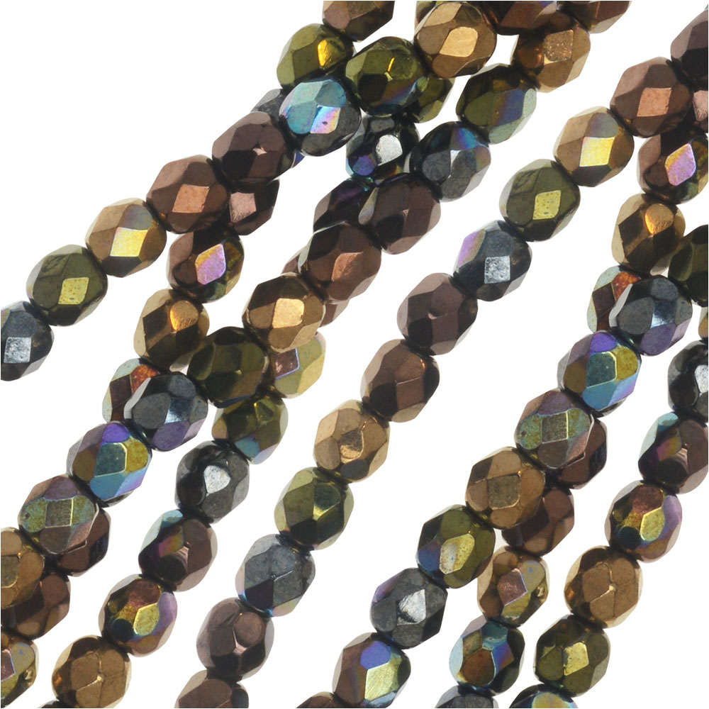 Czech Glass Beads, Faceted Round 4mm, Metallic Rainbow Finish Mix, 1 Strand, by Raven's Journey