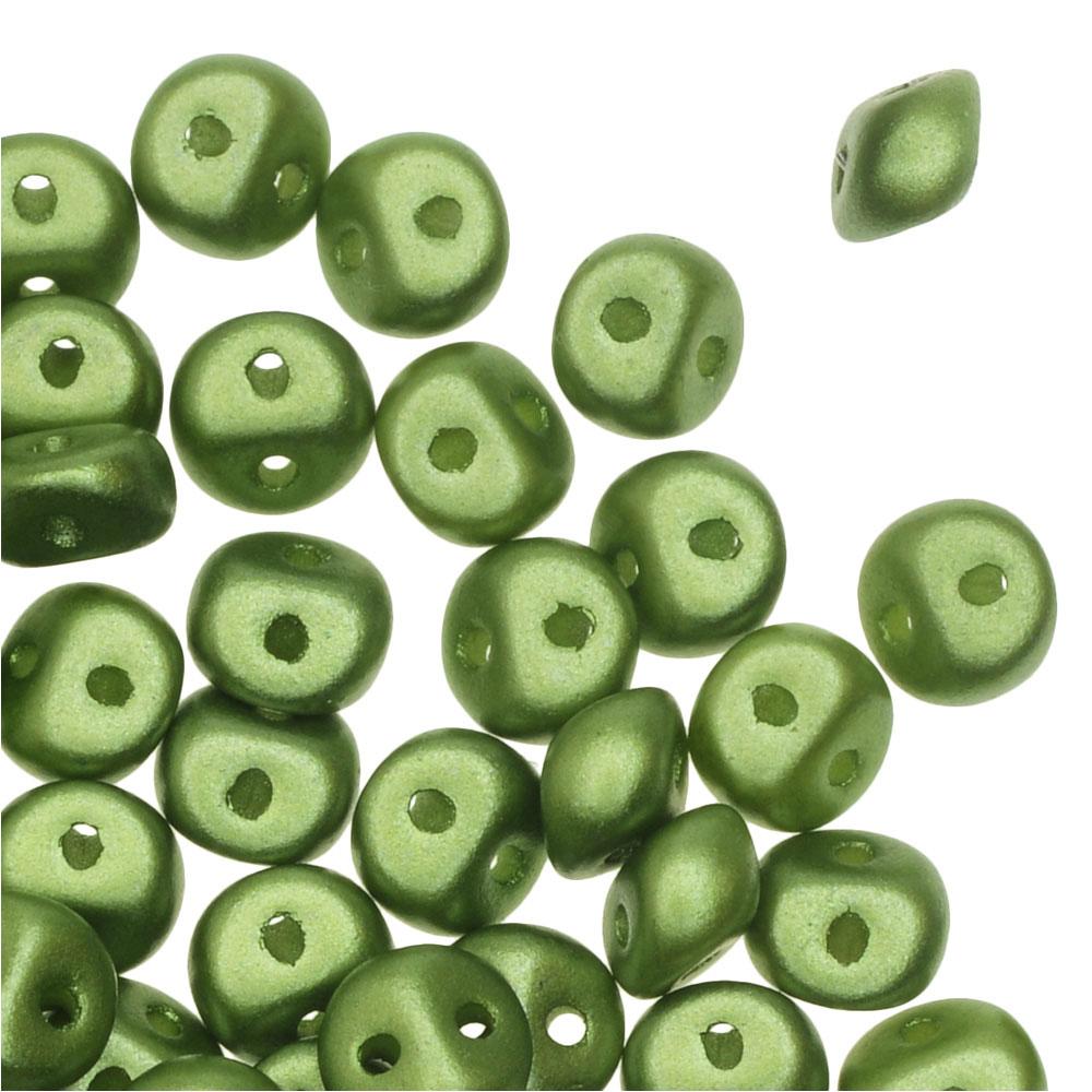 Czech Glass, Es-O Mini 2-Hole Beads 4mm, 5 Grams, Pastel Olivine