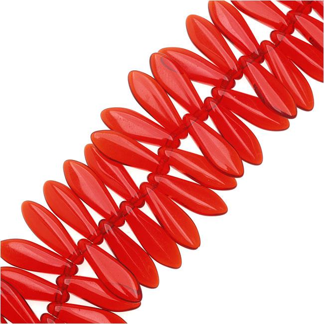 Czech Glass 5 x 16mm Dagger Beads - Ruby Red  (25)