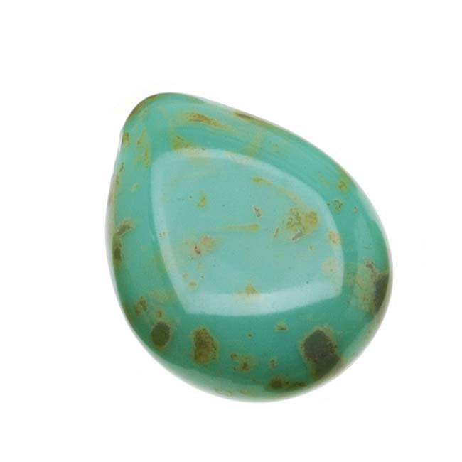 Czech Glass Beads Flat Pear Teardrops  - 16x12mm 'Opaque Turquoise Picasso' (12)