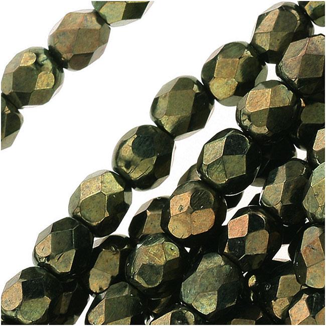 Czech Fire Polished Glass Beads 4mm Round 'Metallic Green' (50)