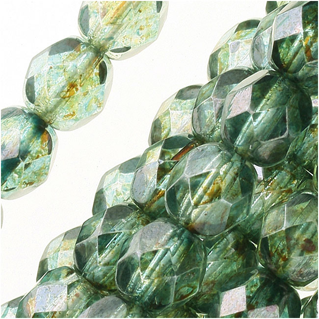 Czech Fire Polished Glass Beads 6mm Round Lumi Coated - Green (25)