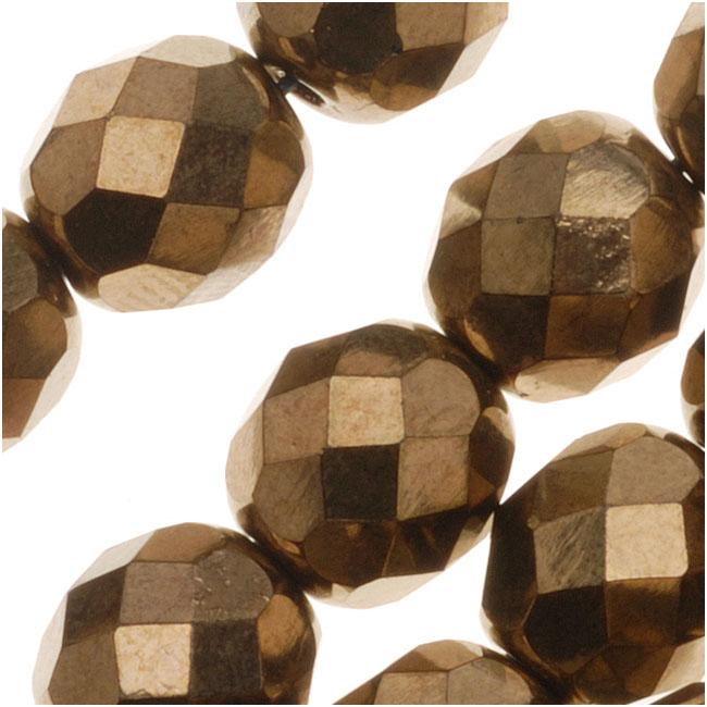Czech Fire Polished Glass Beads 8mm Round - Metallic Bronze (25)