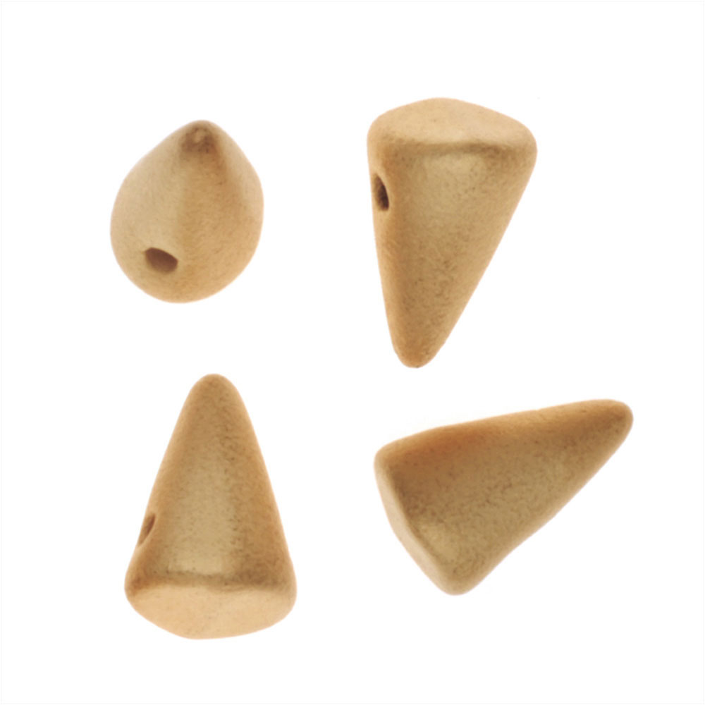 Czech Glass - Cone Spike Beads Brushed 24K Gold Coated 5x8mm (12)