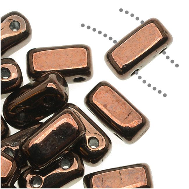 CzechMates Glass 2-Hole Rectangle Brick Beads 6x3mm - Dark Bronze (1 Strand)