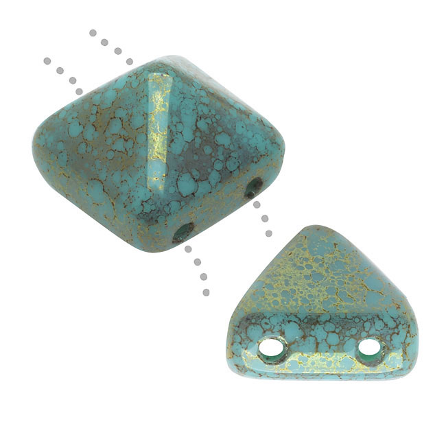 Czech Glass Beads, 2-Hole Pyramid Studs 12mm, 2 Pieces, Turquoise Antique Luster
