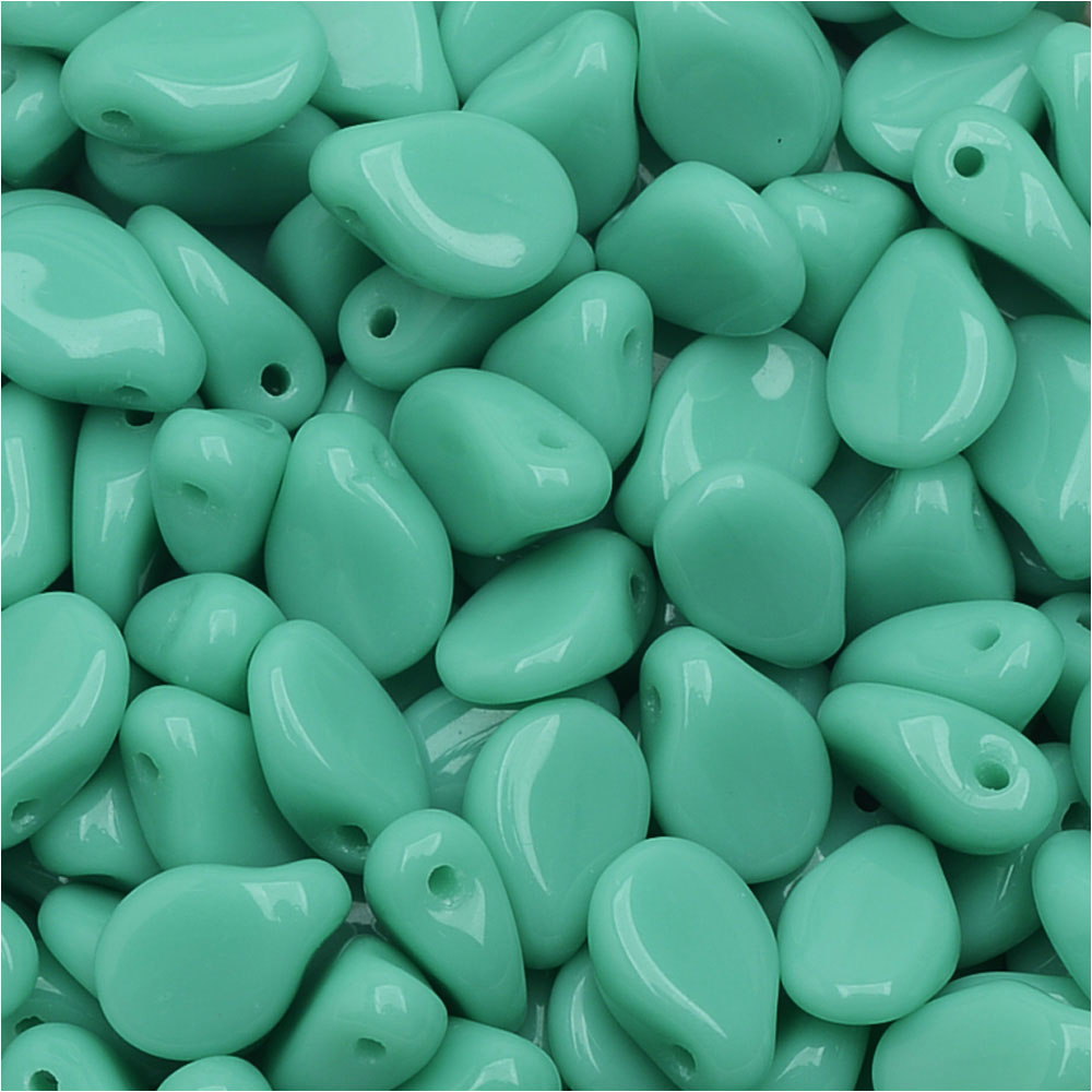 Czech Glass Pip Beads, Smooth Drops 7x5mm, 50 Pieces, Turquoise